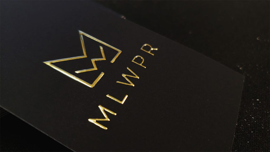 Soft Touch Raised Gold Foil Business Cards on Black