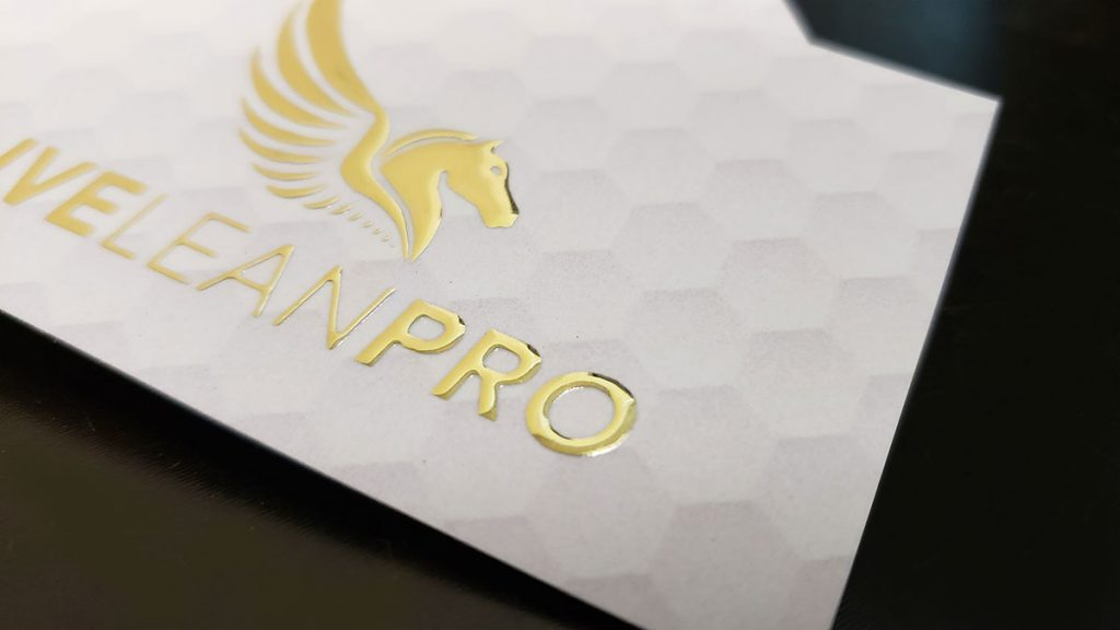 Soft Touch Raised Gold Foil Business Cards Close Up